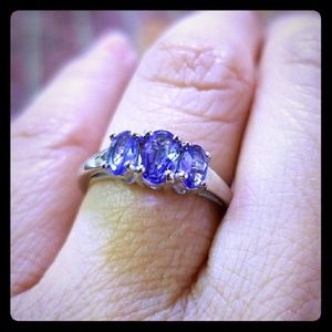 Jewelry - Sterling Silver Tanzanite 3-Stone Band Ring, New